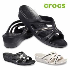 クロックス crocs サンダル レディース サンラ メタル ブロック ストラップ ウェッジ 205580 ミュール ビーチサンダル
