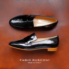 【還元祭クーポン対象】ファビオルスコーニ FABIO RUSCONI シューズ 靴 81611 ローファー エナメル シューズ ブラック 黒 クロ 本革