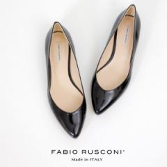 【還元祭クーポン対象】ファビオルスコーニ FABIO RUSCONI パンプス 靴 81508 黒 ブラック エナメル フラット 本革 ローヒール イタリア