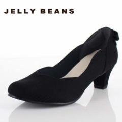 【BIGSALEクーポン対象】 JELLY BEANS ジェリービーンズ 靴 2685 パンプス フラワーカット ヒール バックリボン パーティー ふわさら 黒