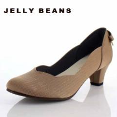 JELLY BEANS ジェリービーンズ 靴 2685 パンプス フラワーカット ヒール バックリボン パーティー ふわさら オーク ベージュ レディース