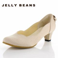JELLY BEANS ジェリービーンズ 靴 2685 パンプス フラワーカット ヒール バックリボン パーティー ふわさら ベージュ レディース