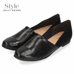 STYLE JELLY BEANS ジェリービーンズ 靴 スリッポン パンプス ローヒール 4150 黒 ブラック 型押しクロコ柄 スエード レディース