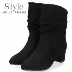 STYLE JELLY BEANS ジェリービーンズ 靴 3720 ルーズブーツ レディース ヒール 黒 ブラック スエード チャンキーヒール ポインテッドトゥ