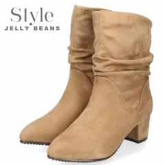 STYLE JELLY BEANS ジェリービーンズ 靴 3720 ルーズブーツ レディース ヒール ベージュ スエード チャンキーヒール ポインテッドトゥ