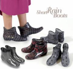 【BIGSALEクーポン対象】 レインブーツ レディース 防水 ショート 781 長靴 雨靴 ガーデニング 洗車 家庭菜園 軽作業 掃除 ブラック レッ