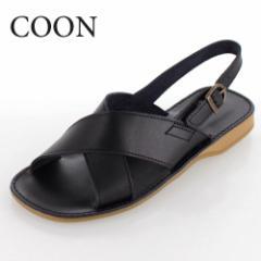 COON クーン 靴 2233 サンダル 日本製 本革 レザー クロスベルト ぺたんこ フラット 黒 ブラック レディース