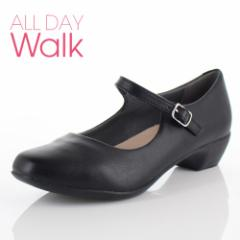 【還元祭クーポン対象】ALL DAY Walk オールデイウォーク 靴 ALD 0670 パンプス スクエアトゥ ストラップ フォーマル リクルート 2E 黒
