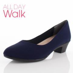 【還元祭クーポン対象】ALL DAY Walk オールデイウォーク 靴 ALD 2150 パンプス アーモンドトゥ ビジネス フォーマル リクルート 2E 紺