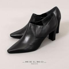 MELMO 靴 メルモ 7643 ブーツ ブーティ サイドゴア アンクルブーツ ショートブーツ ヒール ポインテッドトゥ ハイヒール 2E ワイズ 本革