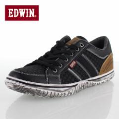 【還元祭クーポン対象】エドウィン EDWIN ED-7138 ブラック カジュアルシューズ スニーカー メンズ 靴 レースアップ 黒