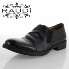【BIGSALEクーポン対象】 RAUDI ラウディ R-82106 BLACK ブラック メンズ 靴 本革 カジュアルシューズ スリッポン サイドゴア