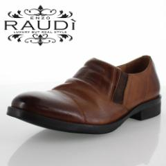 【BIGSALEクーポン対象】 RAUDI ラウディ R-82106 BROWN ブラウン メンズ 靴 本革 カジュアルシューズ スリッポン サイドゴア