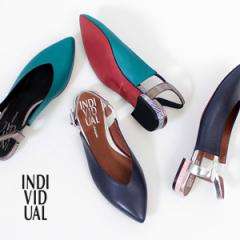INDIVIDUAL インディヴィジュアル ラボキゴシ 靴 6338 レッドソール バックストラップパンプス サンダル フラット ローヒール 本革 デザ
