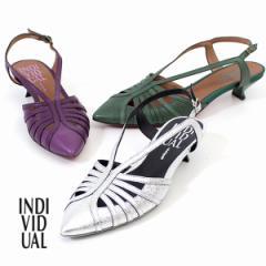 【還元祭クーポン対象】INDIVIDUAL インディヴィジュアル ラボキゴシ 靴 6400 レッドソール バックストラップパンプス サンダル ベルト