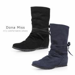 コンフォートブーツ Dona Miss ドナミス 30100 本革 ミドルブーツ レディース 本革 インヒール ウエッジ リボン
