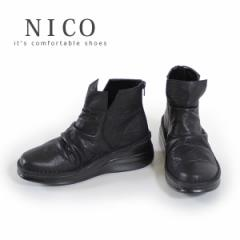 コンフォートブーツ 靴 NICO ニコ 84111 レディース ショートブーツ コンフォートシューズ ラウンドトゥ 黒 ブラック 本革