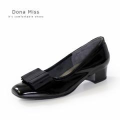 本革 エナメル パンプス ローヒール ブラック Dona Miss 381 黒 リボン フォーマル レディース 靴 卒業式 入学式 卒園式 入園式