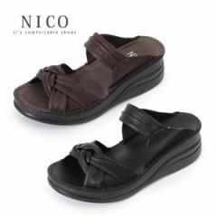 コンフォートサンダル NICO ニコ 4132 レディース 厚底 ウエッジソール 2本ベルト リボン オープントゥ カジュアル 軽量 クッション 柔ら