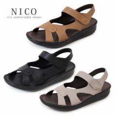 コンフォートサンダル NICO ニコ 88046 レディース ウエッジソール バックストラップ オープントゥ カジュアル 本革 日本製 セール