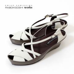 ラボキゴシ ワークス サンダル RABOKIGOSHI works 靴 11598 ウエッジソール クロスベルト バックストラップ オープントゥ レディース