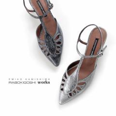 ラボキゴシ ワークス RABOKIGOSHI works パンプス 11983 Tストラップ ローヒール サンダル 本革 靴 レディース