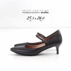 RABOKIGOSHI works 靴 ラボキゴシ ワークス 12181D B 撥水 ストラップ パンプス ブラック 黒 本革 ヒール レディース 25.5cm 26cm