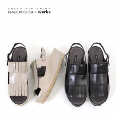 RABOKIGOSHI works 靴 ラボキゴシ ワークス 12180 本革 サンダル ミュール バックストラップサンダル オープントゥ フリンジ レディース
