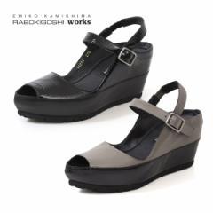 RABOKIGOSHI works 靴 ラボキゴシ ワークス サンダル 12214 厚底 ウエッジソール 本革 ストラップ ストーム レディース セール