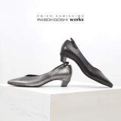 RABOKIGOSHI works 靴 ラボキゴシ ワークス 12242 パンプス ローヒール 本革 Vカット レディース ポインテッドトゥ