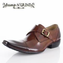 メンズ ビジネスシューズ Bump N GRIND バンプ アンド グラインド 靴  BG-6032 CAMEL ブラウン モンクストラップ 本革 紳士靴