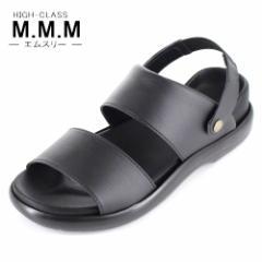 【還元祭クーポン対象】サンダル メンズ M.M.M. エムスリー コンフォートサンダル ソフトインソール 95 黒 3E 室内履き 紳士 靴 日本