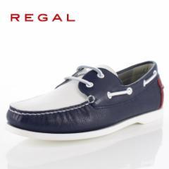 【BIGSALEクーポン対象】 リーガル 靴 メンズ REGAL 55TRAF ホワイト トリコロール カジュアルシューズ デッキシューズ 2E 本革 紳士靴