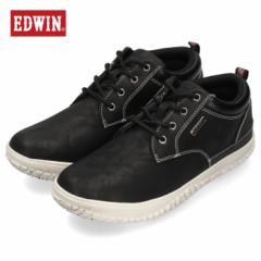 【還元祭クーポン対象】エドウィン EDWIN EDW-7808 ブラック カジュアルシューズ メンズ スニーカー 防水 防滑 靴 レースアップ