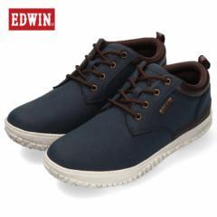 【還元祭クーポン対象】エドウィン EDWIN EDW-7808 ネイビー カジュアルシューズ メンズ スニーカー 防水 防滑 靴 レースアップ