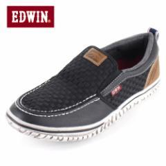 【BIGSALEクーポン対象】 EDWIN エドウィン EDW-7538 BLACK メンズ スニーカー スリッポン カジュアル 軽量 カップインソール ブラック