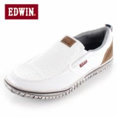 【還元祭クーポン対象】EDWIN エドウィン EDW-7538 WHITE メンズ スニーカー スリッポン カジュアル 軽量 カップインソール ホワイト
