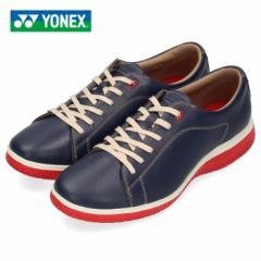 ヨネックス パワークッション 107 メンズ レディース ウォーキングシューズ YONEX SHW107 ネイビー スニーカー レザー 靴 3.5E
