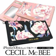 iPhoneXR 専用 CECIL McBEE セシルマクビー 手帳ケース マルチフラワー 花柄 かわいい おしゃれ アイフォンケース 手帳型 ブランド