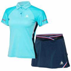 ルコックスポルティフ レディース NEXTEP 半袖ポロシャツ&アクティブストロークパンツ 上下セット Pブルー×ネイビー