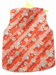 子供 あったか ポンチョ 100 サイズ 3〜4歳用 赤地 八重桜 柄 No.3061