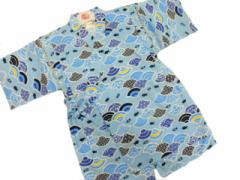 日本製 5〜6歳用 男物 子供甚平 110サイズ 水色地 魚柄 No.3007