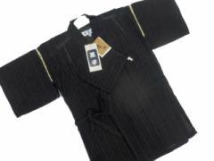 日本製 9〜10歳用 男物 子供甚平 130サイズ 黒地 雨縞 柄 No.3013