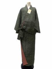 新作 丸洗いできる着物 帯のいらない着物 二部式 洗える二部式(袷) 黒地 小花 柄 No.3060