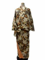 RK キクチ リョウコ 丸洗いできる 着物 帯のいらない 着物 二部式 洗える二部式(袷) 茶色地 紅葉 柄 No.3053