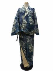 RK キクチ リョウコ 丸洗いできる 着物 帯のいらない 着物 二部式 洗える二部式(袷) 濃紺地 松葉 柄 No.3055