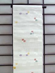 ◆正絹九寸名古屋帯(お仕立て付)◆白地に市松と菊柄no103