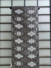 ◆正絹九寸名古屋帯(お仕立て付)◆黒地に菱柄no105
