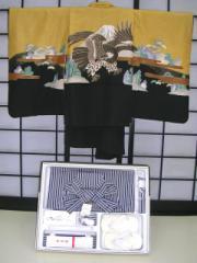 七五三レンタル★五歳男の子袴セット★カラシ地に鷹柄noM