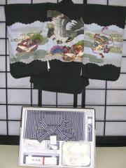 七五三レンタル★五歳男の子袴セット★黒地に鷹柄noN